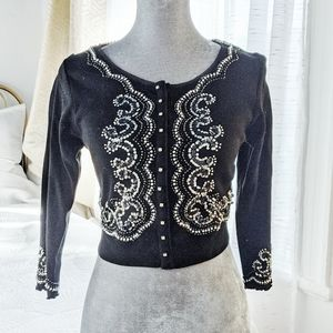 Beaded sequins rhinestones black cardigan